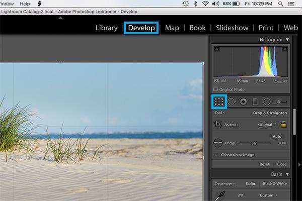 how to crop in lightroom screenshot of crop button