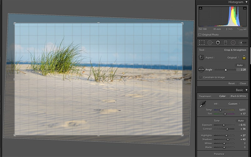 lightroom angle slider example